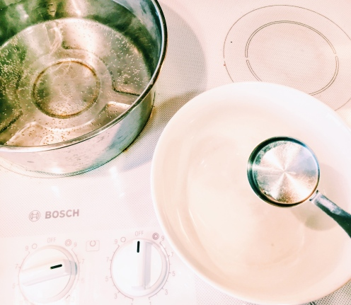 Make sure you use boiling hot water for the noodle dough!